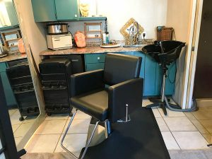 Hair cutting and shampoo station